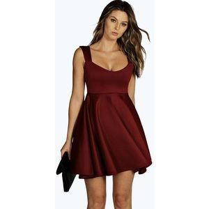 NWT Boohoo Night Red Sweetheart Skater Dress, 4
